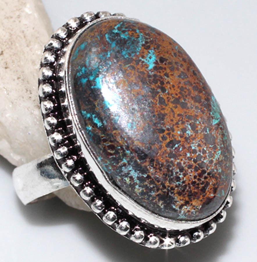 Кольцо с хризоколлой в серебре. Природная хризоколла. Размер 18. Индия!