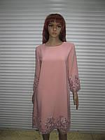 Нарядное женское платье пудрового цвета с шикарным кружевом производства Турция  р 42 46 +6