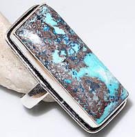 Красивое кольцо с хризоколлой в серебре. Природная хризоколла 18-18,5 размер Индия, фото 1