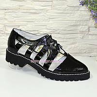 Женские открытые черные туфли на шнуровке. 38 размер