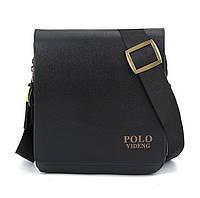 Мужская сумка Polo Videng коричневая и черная на плечо