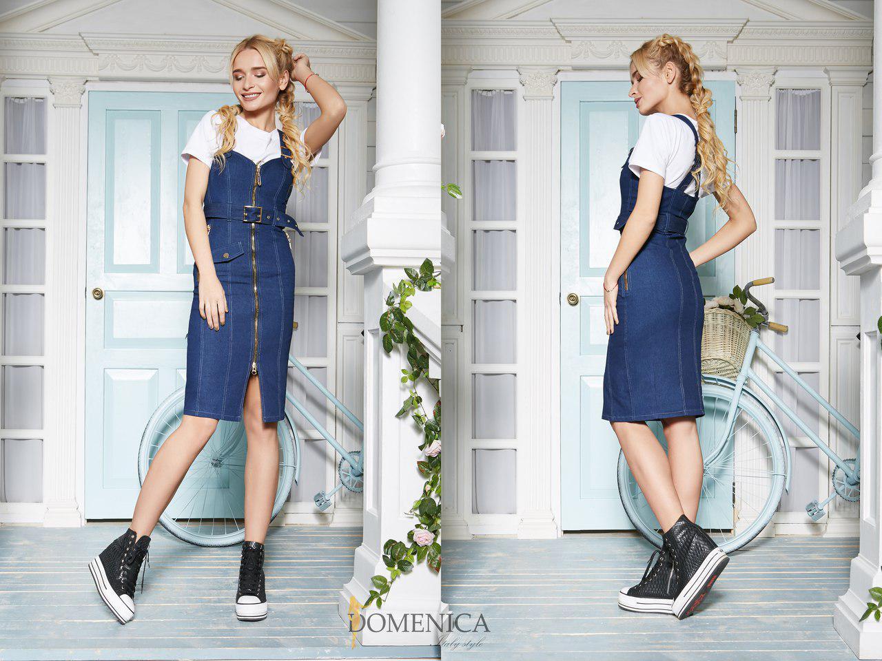 28acb50c6e9 Купить Джинсовое платье-рубашку на пуговицах с декором tez31031169 ...