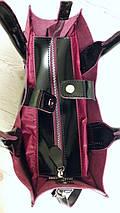 71-2 Сумка женская натуральная кожа, черный глянец с изнанкой фуксия, фото 2