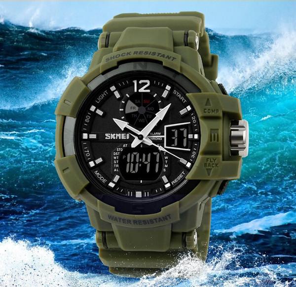 Армейские защищенные часы skmei 1040 green