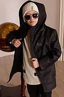 Детская кожаная куртка с капюшоном