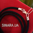 Черный шнурок на шею диам. 3 мм с золотой застежкой Косое плетение, фото 4
