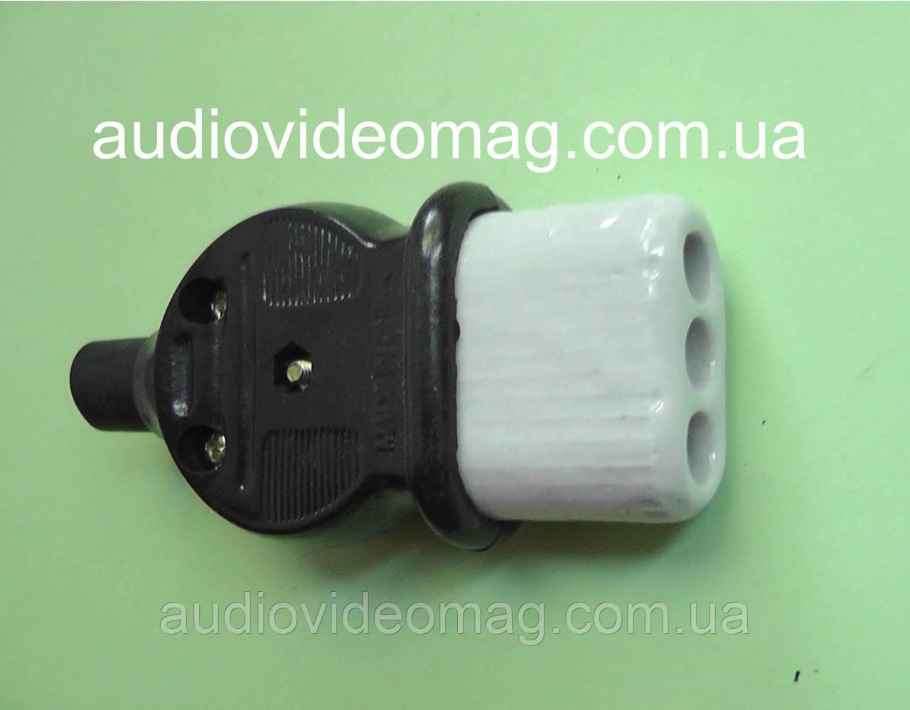 Гнездо 220В на кабель для электро чайника, керамическое