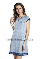 Жіноча сорочка ELLEN Синій горошок закриті плечики 077/006, фото 1