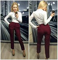 Красивый женские брюки модного цвета марсала