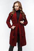 Кардиган женский вязаный с поясом цвет красный.