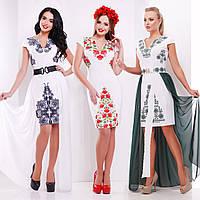 Короткое платье со съемной длинной шифоновой юбкой