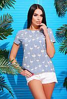 Легкая женская блузка с модным принтом р.44