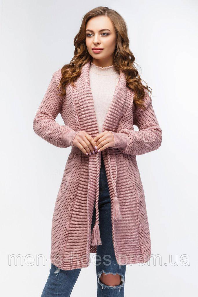 Кардиган женский вязаный с поясом розовый.