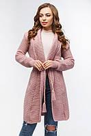 Кардиган женский вязаный с поясом розовый., фото 1
