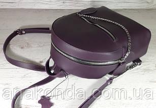 114-XL Натуральная кожа РАЗМЕР XL Городской рюкзак Кожаный рюкзак чфиолетовый Рюкзак женский баклажан кожаный, фото 3