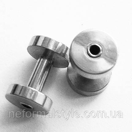 Тунель діаметр 2,5 мм для пірсингу вух (медична сталь).(ціна за 1 шт), фото 2