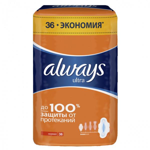 """Женские гигиенические прокладки """"Always ultra normal"""" 4 капли (36 шт.)"""