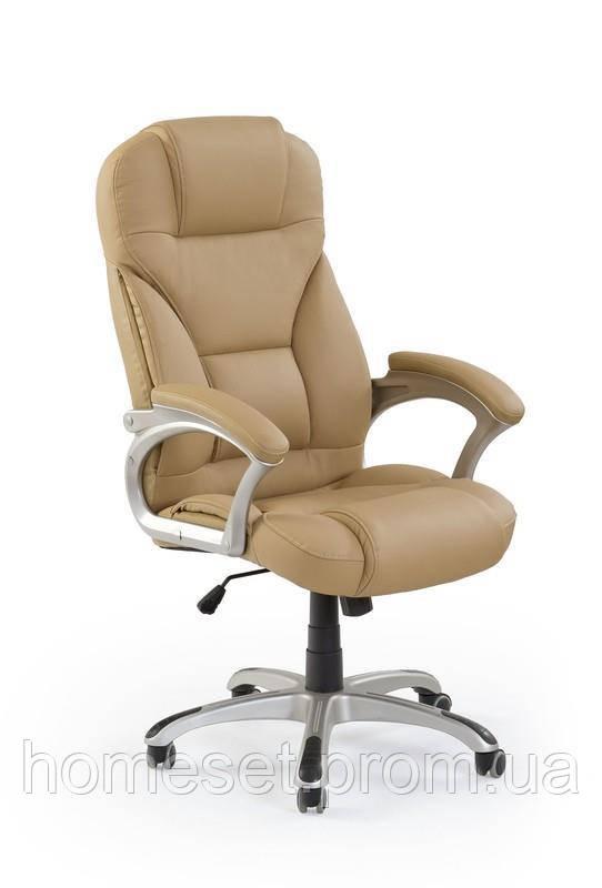 Бежевое кресло офисное кожаное Halmar Desmond Десмонд
