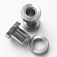 Тоннель 6 мм диаметр для пирсинга ушей (медицинская сталь)(цена за 1шт), фото 1