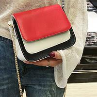 Модная двухцветная сумка-сундук на цепочке, цвета в наличии , фото 1