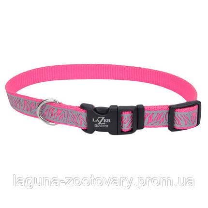 Coastal Lazer свето-отражающий ошейник для собак, 1,6смХ30-45см, фиолетовые ромашки, фото 2