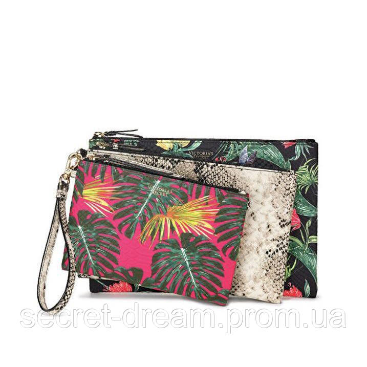 Набор клатчей Victoria's Secret Hot Tropic Backstage Pouch Trio Pink/black Palm