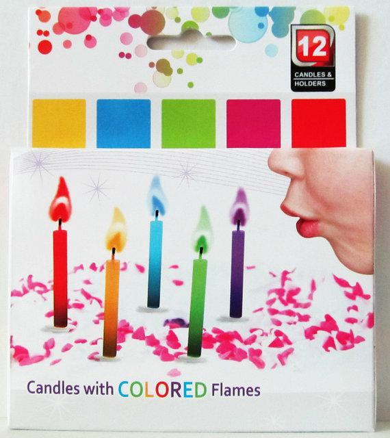 Свечи для торта с разноцветными огоньками, 12 штук