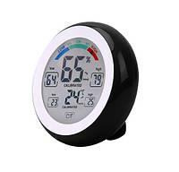 Термометр-гігрометр з магнітами на холодильник з сенсорними кнопками і кольоровою шкалою гігрометра THWL02 ЧОРНИЙ, фото 1
