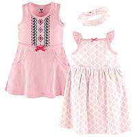 """Набор два детских платья и повязка """"Узор"""" 6/9/12 мес. от Hudson Baby (США)"""