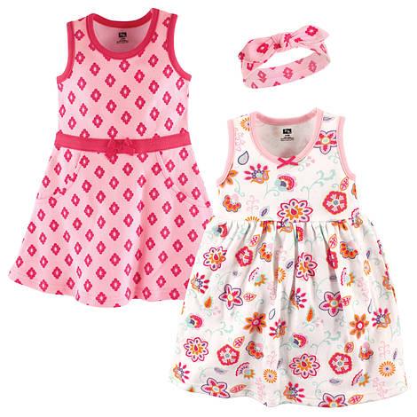 """Набор два детских платья и повязка """"Цветы"""" 3/6/9/12 мес. от Hudson Baby (США)"""
