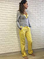 Женская пижама S M L XL, хлопок, желтая