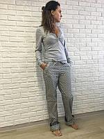 Пижама женская кофта+штаны, S M L XL, сатин хлопок