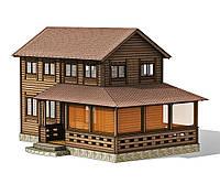 Двухэтажный деревянный дом для небольшого узкого участка 7х4,25