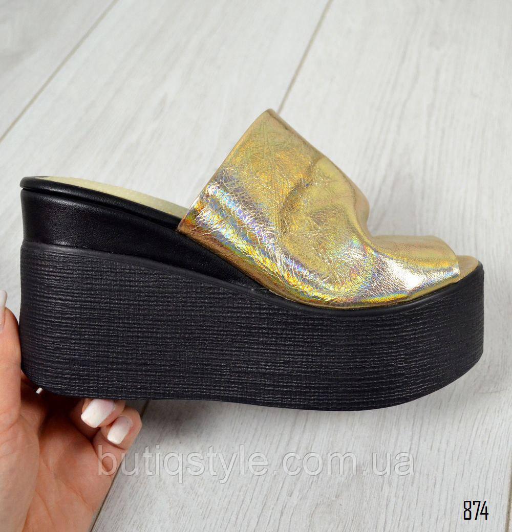 37, 40 размер! Крутые кожаные женские шлепанцы сабо золото на черной платформе натур кожа 2018