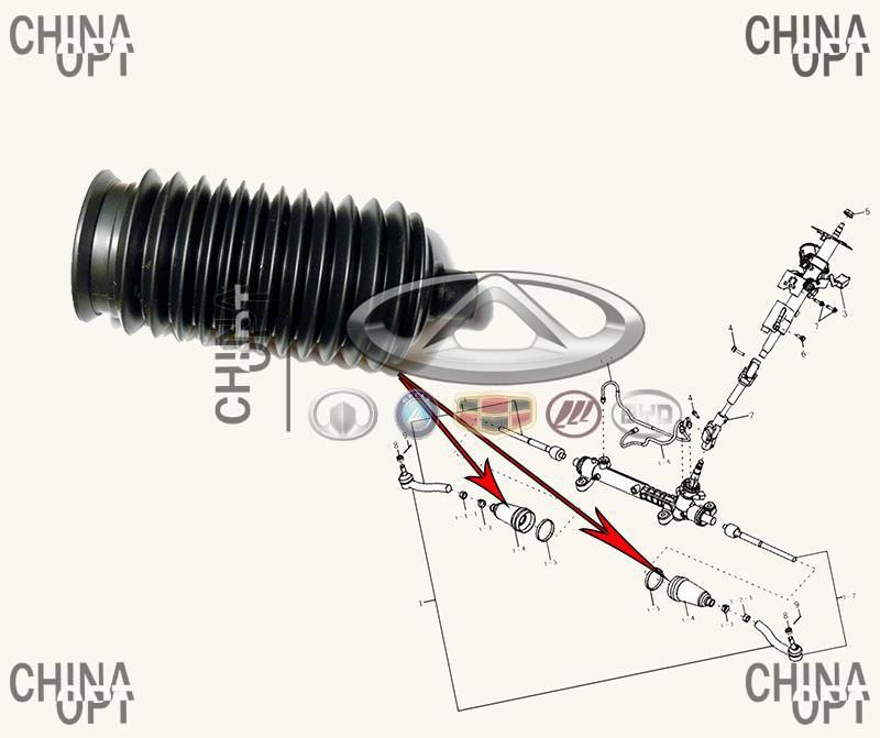 Пыльник рулевой тяги, резиновый, Lifan 620 [Solano], B3401811, Aftermarket