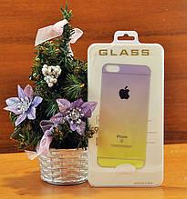 Стекло Colors Ombre iPhone 6 F/B violet/yellow