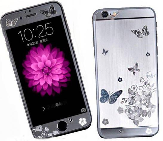 Стекло Colors Butterfly iPhone 7/8 F/B silver, фото 2