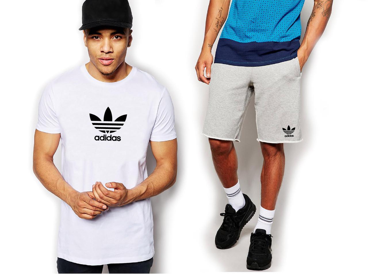 Мужской летний комплект футболка и шорты Адидас (Adidas), футболки и шорты Турейкий трикотаж, копия