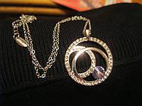 Ив роше бижутерия Набор Элегантных Украшений с Стразамицепочка кулон серьги фиолетовый камень мешочек органзы