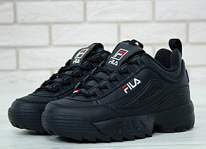 Женские кроссовки в стиле FILA Disruptor All Black (37, 38, 39, 41 размеры), фото 2