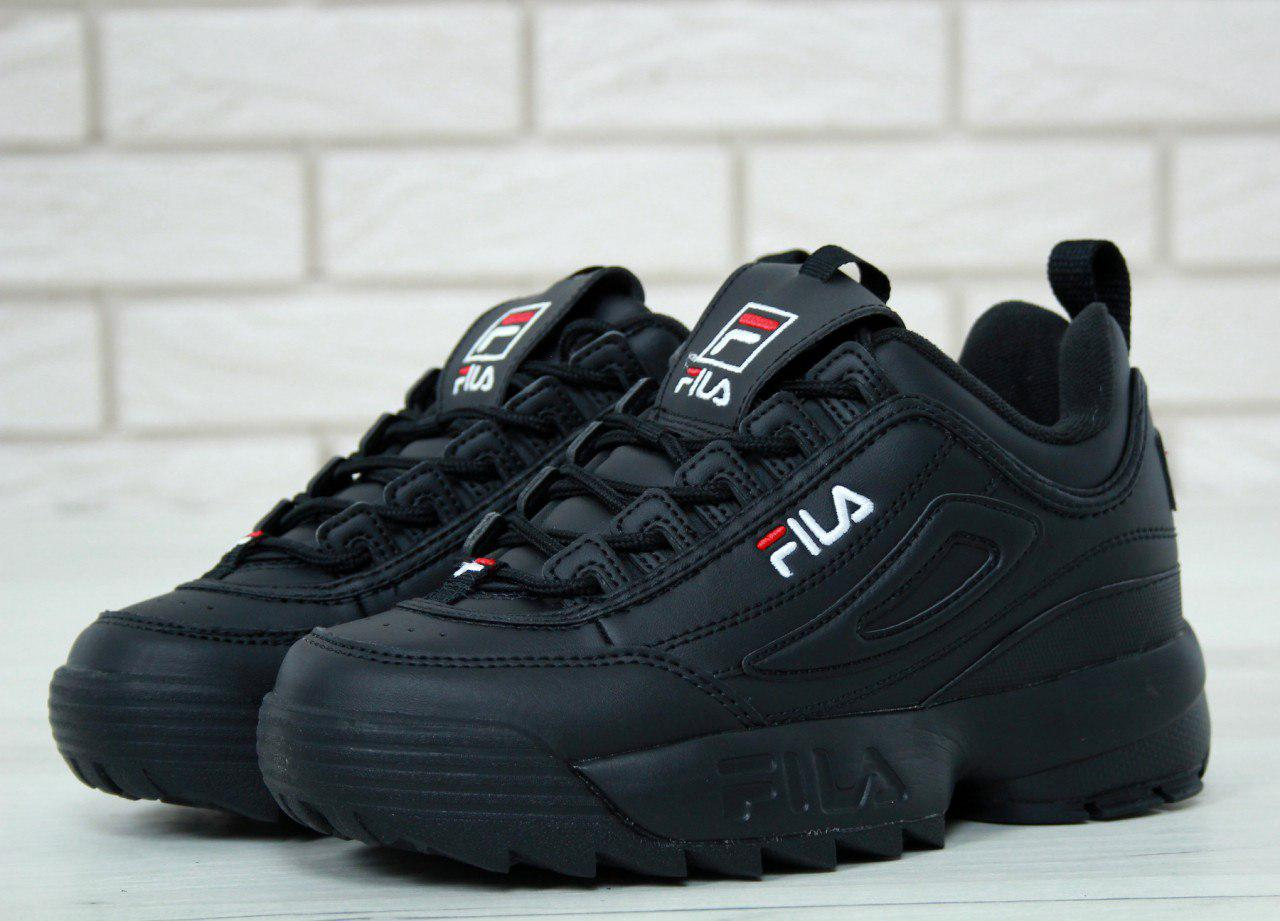 Женские кроссовки в стиле FILA Disruptor All Black (37, 38, 39, 41 размеры)