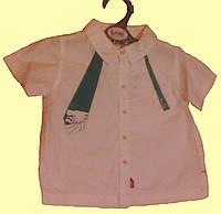Рубашкас изумрудным галстуком детская с коротким рукавом, для мальчика 2 года, 92см