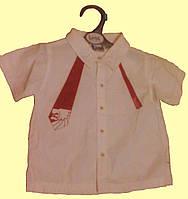 Рубашкас красным галстуком детская с коротким рукавом, для мальчика 2 года, 92см