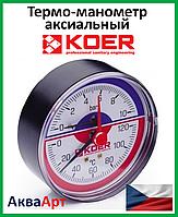 Koer термо-манометр аксиальный (заднее подключение) 802А-10bar D=80мм 1/2''