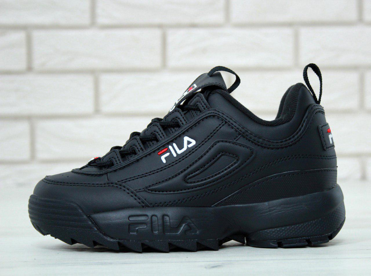 Женские кроссовки Fila Disruptor II Leather «Black Black»   1 390 ... d6b001b47ba