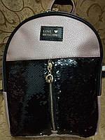 Женский рюкзак moschino искусств кожа с паетками качество городской спортивный стильный опт, фото 1