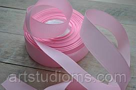 Репсовая лента ширина 2,5см (25мм). Цвет розовый