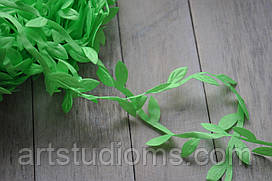 """Тесьма - Лиана """"Плющ Лист"""", ширина 1,7см. Цвет Зеленый (салатовый)"""