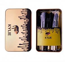 Набор кистей для макияжа Kylie золото н12 шт