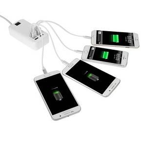 Зарядное устройство на 6 USB портов с кнопкой включеня 25W 5V 5A, фото 2